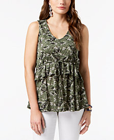 Style & Co Petite Printed Ruffled Top, Created for Macy's