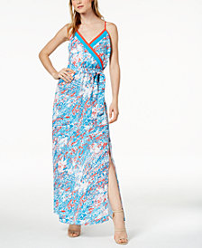Bar III Printed Surplice Maxi Dress, Created for Macy's