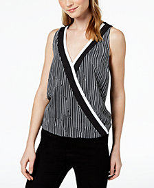 Bar III Printed Surplice Cutout-Back Top, Created for Macy's