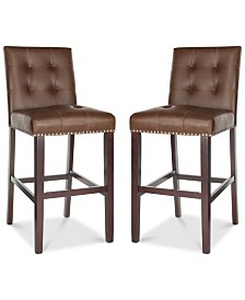 Ora Faux Leather Bar Stool (Set Of 2), Quick Ship