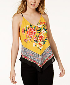 BCX Juniors' Scarf-Print Pointed-Hem Tank Top