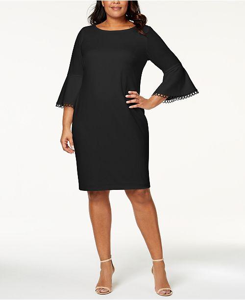 72fb9cc730e Calvin Klein Plus Size Bell-Sleeve Sheath Dress - Dresses - Women ...