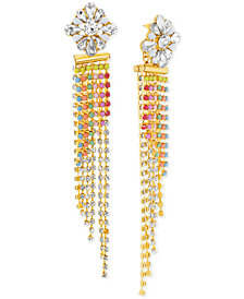 Steve Madden Gold-Tone Stone & Crystal Long Dangle Drop Earrings