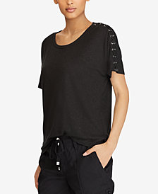 Lauren Ralph Lauren Lace-Shoulder T-Shirt