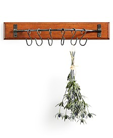 Wood Wall Décor with 6 Metal Hooks