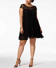 Xscape Plus Size Beaded & Pleated Shift Dress