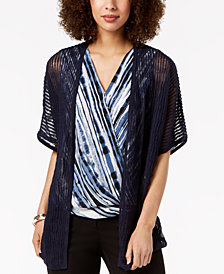 Alfani Printed Surplice Blouse, Created for Macy's