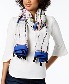 I.N.C. Dye-Wash Striped Tassel Wrap & Sarong Cover-Up, Created for Macy's