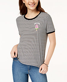 Rebellious One Juniors' Chill Out Sweetie Striped Graphic T-Shirt