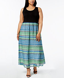 Calvin Klein Plus Size Printed-Skirt Maxi Dress
