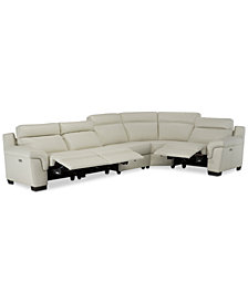 Julius II 5-Pc. Leather Sectional Sofa With 3 Power Recliners, Power Headrests & USB Power Outlet, Created for Macy's