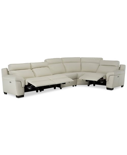 Furniture Julius II 5-Pc. Leather Sectional Sofa With 3 Power Recliners, Power Headrests & USB Power Outlet, Created for Macy's