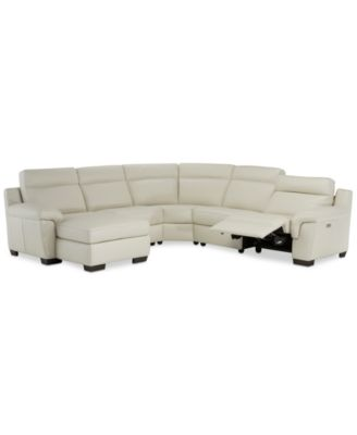 Julius II 5-Pc. Leather Chaise Sectional Sofa With 1 Power Recliner, Power Headrest & USB Power Outlet, Created for Macy's
