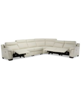 Julius II 6-Pc. Leather Sectional Sofa With 3 Power Recliners, Power Headrests & USB Power Outlet, Created for Macy's