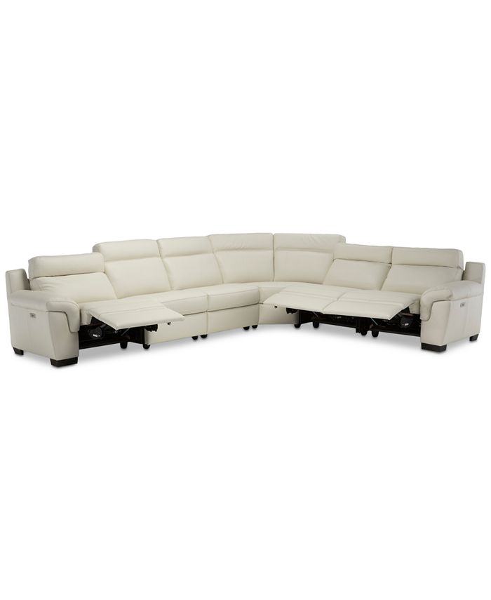 Furniture - Julius II 6-Pc. Leather Sectional Sofa With 3 Power Recliners, Power Headrests & USB Power Outlet