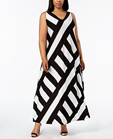 Calvin Klein Plus Size Patch-Striped Maxi Dress