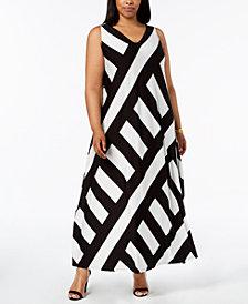 Calvin Klein Plus Size Patch-Striped Maxi Dress