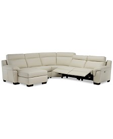 Julius II 5-Pc. Leather Chaise Sectional Sofa With 2 Power Recliners, Power Headrests & USB Power Outlet, Created for Macy's