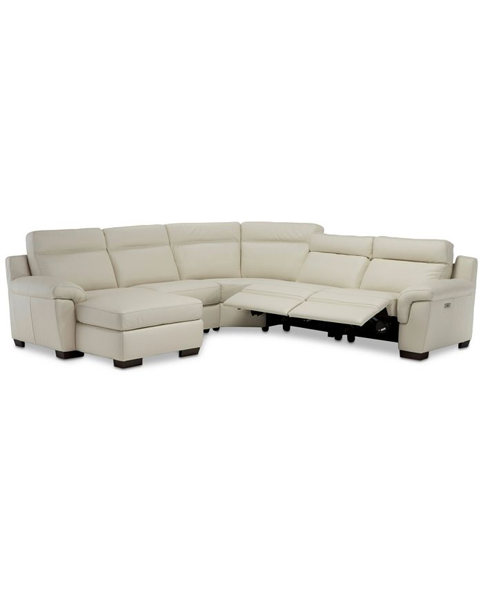 Furniture - Julius II 5-Pc. Leather Sectional Sofa With 2 Power Recliners, Power Headrests, Chaise & USB Power Outlet