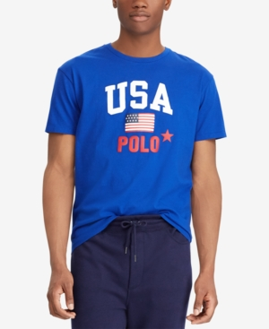 42444f6f Polo Ralph Lauren Men'S Flag Print Classic-Fit T-Shirt In Rugby Royal