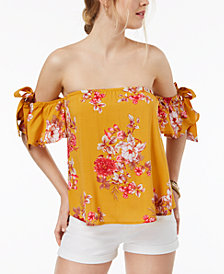 Gypsies & Moondust Juniors' Off-The-Shoulder Tie-Sleeve Top
