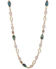 """Anne Klein Gold-Tone Multi-Stone 42"""" Strand Necklace"""