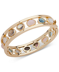 Anne Klein Gold-Tone Multi-Stone Bangle Bracelet