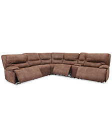 Felyx 6-Pc. Fabric Sectional Sectional Sofa With 3 Power Recliners, Power Headrests, Console And USB Power Outlet