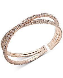 Anne Klein Crystal Crisscross Coil Cuff Bracelet