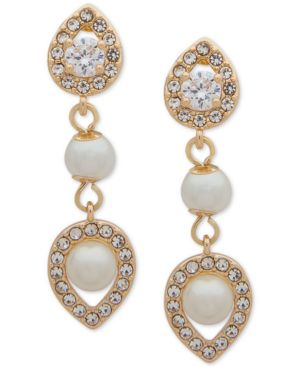 CRYSTAL AND IMITATION PEARL DROP EARRINGS