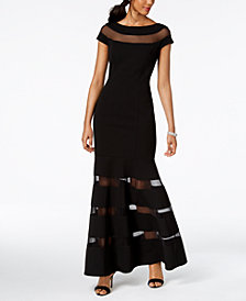 Vince Camuto Illusion-Stripe Trumpet Gown