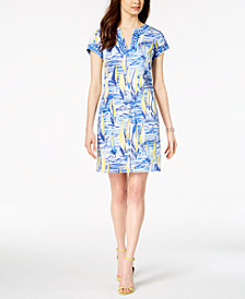 Pappagallo Printed Split-Neck Shift Dress