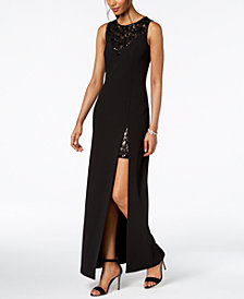 Vince Camuto Sequined-Lace Slit Gown