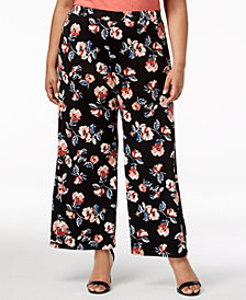 Monteau Trendy Plus Size Floral-Print Soft Pants