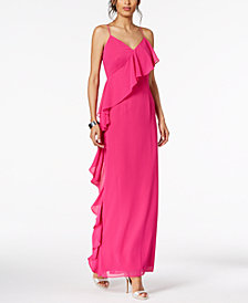 Vince Camuto Ruffled V-Neck Gown