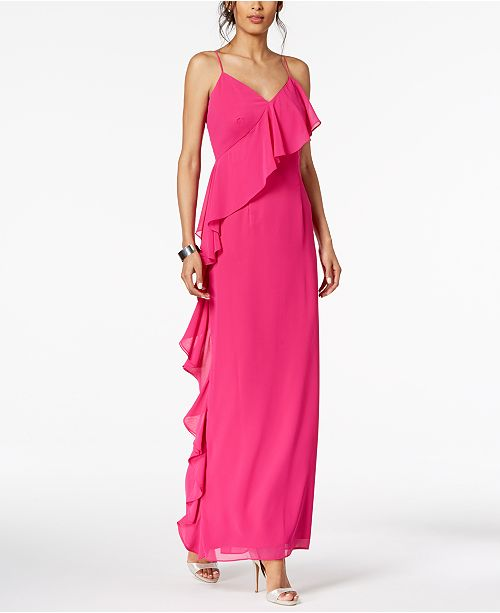 2eb954099ec Vince Camuto Ruffled V-Neck Gown   Reviews - Dresses - Women ...