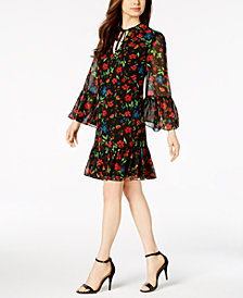 Calvin Klein Printed Peasant Shift Dress