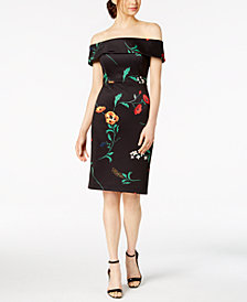Calvin Klein Printed Off-The-Shoulder Dress