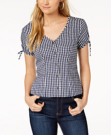 Maison Jules Cotton Gingham V-Neck Top, Created for Macy's