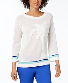 Tommy Hilfiger Cotton Palm Tree Sweater, Created for Macy's