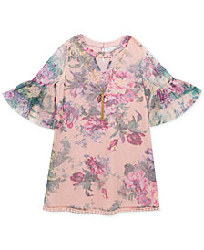 Rare Editions Little Girls 2-Pc. Floral-Print Mesh Dress & Necklace Set