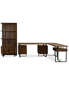 Valencia Home Office, 3-Pc. Set (Double Pedestal Desk, Return Desk & Bookcase)