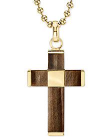 "Men's Tiger's Eye Beaded Cross 22"" Pendant Necklace in Gold Tone Ion-Plated Stainless Steel"