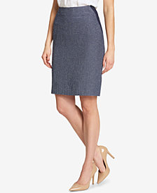 Tommy Hilfiger Colorblocked Tweed Pencil Skirt