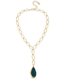 "Robert Lee Morris Soho Patina/Imitation Mother-of-Pearl Teardrop & Link Lariat Necklace, 18"" + 3"" extender"