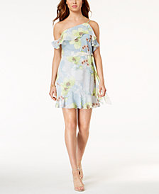 GUESS Elana Ruffled One-Shoulder Dress