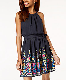 BCX Juniors' Embroidered Fit & Flare Dress