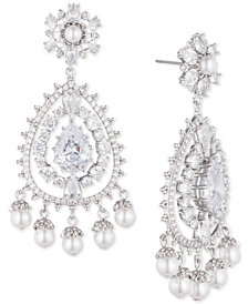 Marchesa Silver-Tone Crystal & Imitation Pearl Chandelier Earrings, Created for Macy's