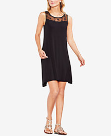 Vince Camuto Eyelet & Solid Dress