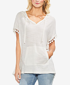 Vince Camuto Hooded Pom Pom Top